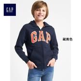 Gap男童 LOGO系列舒適刷毛拉鏈長袖連帽外套 260311-藏青色