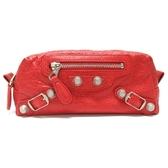 BALENCIAGA 巴黎世家 紅色羊皮銀釦拉鍊化妝包 233600 【二手品牌 BRAND OFF】