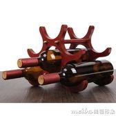 創意實木紅酒架擺件歐式葡萄酒架子家用客廳紅酒櫃架餐廳酒瓶架子igo 美芭