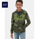 Gap男童 Logo印花連帽長袖拉鏈休閒上衣 491328-綠色迷彩