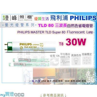 【PHILIPS飛利浦】燈管 T8.30W TLD80三波長自然色省電燈管(白/黃光)【燈峰照極my買燈】