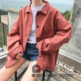 牛仔外套/女早秋韓版學院風復古寬鬆洗水流蘇長袖襯衫上衣女