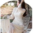 古典美鏤空蕾絲杏色長袖洋裝[99133-QF]美之札