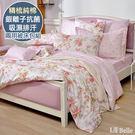 義大利La Belle《花宴綻放》加大純棉防蹣抗菌吸濕排汗兩用被床包組