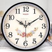 鐘表掛鐘客廳簡約時鐘靜音創意時尚掛表電子石英鐘 AW14674『紅袖伊人』