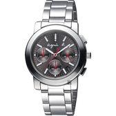 agnes b. 自由國度三眼計時腕錶-灰x銀/38mm V654-KP30N(BT3030X1)