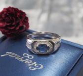 -低調藍寶0.92克拉男戒指-含寶石鑑定書