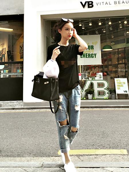 克妹Ke-Mei【AT51454】最愛偷穿男友褲 水洗破損刷毛摟空淺水洗牛仔褲