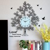 鐘錶掛鐘客廳現代簡約時尚創意歐式時鐘大氣家用靜音發財樹石英鐘 年底清倉8折