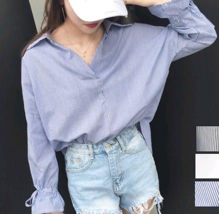 EASON SHOP(GU1205)韓版條紋學生大V領燈籠袖長袖襯衫藍白條紋白襯衫女寬鬆學院風黑白條藍白條