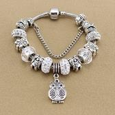 串珠手環-水晶飾品可愛貓頭鷹吊墜鑲鑽女配件73kc118【時尚巴黎】