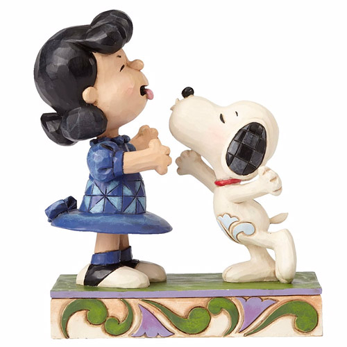 《Enesco精品雕塑》SNOOPY親吻露西惡作劇塑像-Agh! I've been kissed by a dog!(Peanuts by Jim Shore)_EN89620