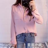 chic早春襯衫女2020新款長袖寬鬆百搭學生韓版雪紡衫打底衫襯衣潮 藍嵐