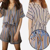 套裝 薄棉麻條紋上衣+鬆緊腰短褲   [灰寬咖細條 米寬藍細條] 兩色售