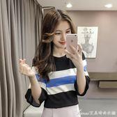 上衣 五分袖針織衫女新款年秋冬女裝韓版黑白條紋修身顯瘦上衣女  艾美時尚衣櫥