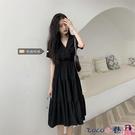 熱賣大碼洋裝 法式小眾氣質大碼仙女裙v領遮肉短袖連身裙女胖mm顯瘦復古小黑裙 coco