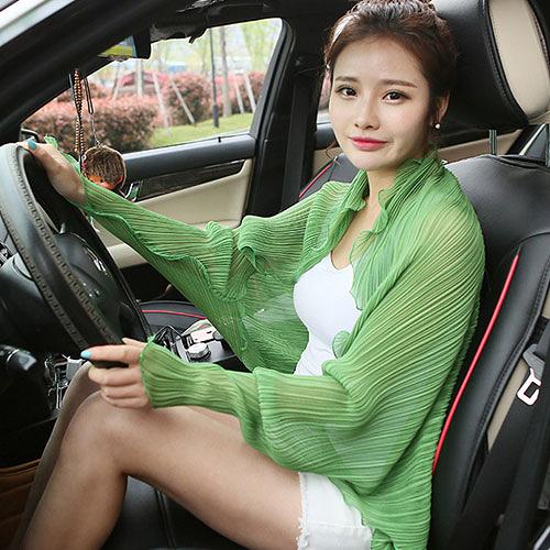披肩 開車防曬披肩女夏季薄款韓版雪紡衣衫女圍巾防紫外線騎車神器袖套「免運:享八五折優惠」