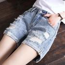 牛仔短褲女大碼高腰寬鬆韓版新款顯瘦破洞熱褲韓版直筒百搭潮