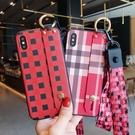 S10/S10e/S10 Plus保護殼 簡約格紋三星手機殼 腕帶SamSung Note 10 Plus手機套 S8/S9/N8/N9三星保護套