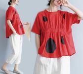 大尺碼 MM春款文藝200斤大尺碼圓領鬆緊腰T恤 短袖打底衫圓點襯衣上衣女裝