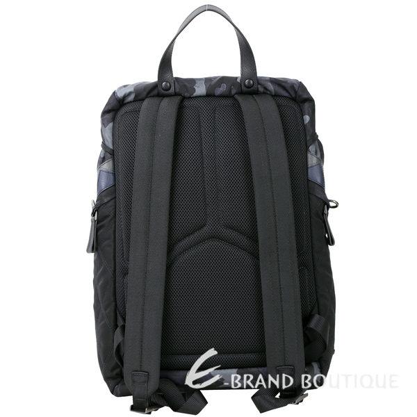 PRADA Saffiano 菱格絎縫拼接迷彩尼龍後背包(黑藍色)  1810396-61