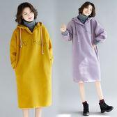 洋裝【K242】FEELNET中大尺碼女裝2018秋裝韓版中長款加絨加厚連帽假兩件長袖洋裝 L~XL