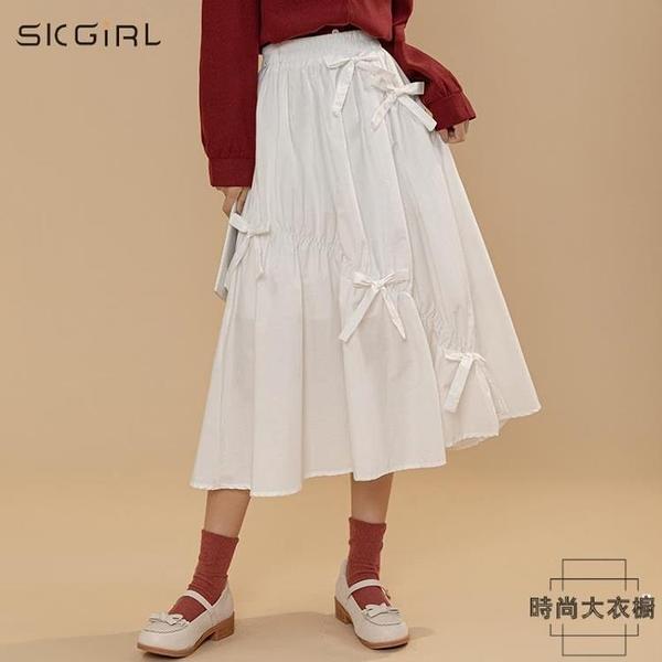 半身裙女松緊腰個性綁帶設計感中長款初春季韓版【時尚大衣櫥】