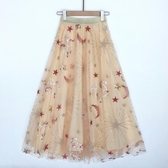星空春夏裝新款亮片飛馬網紗刺繡半身裙 大裙擺長裙星星紗裙