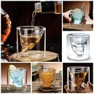 [拉拉百貨]骷髏頭玻璃杯 造型杯 雙層透明玻璃杯 高硼矽無鉛玻璃 水杯 威士忌杯 創意 一口杯