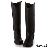 amai作舊感V口線條百搭長靴 黑