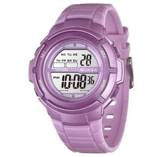 JAGA 捷卡 多功能電子錶 休閒錶 防水手錶 38mm 女錶 學生錶 兒童手錶 紫色 M1085-J 粉紫