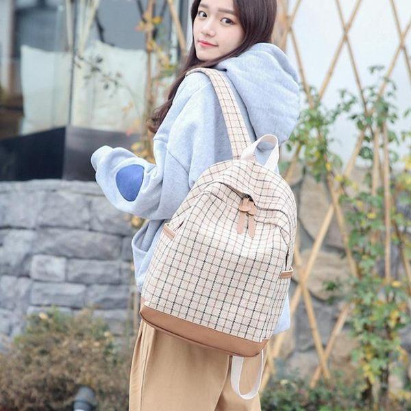 韓版時尚書包學生休閒背包百搭格子後背包女包簡約【非凡上品】h326