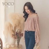東京著衣【YOCO】唯美甜氛一字領蕾絲澎澎袖上衣-S.M.L(181528)