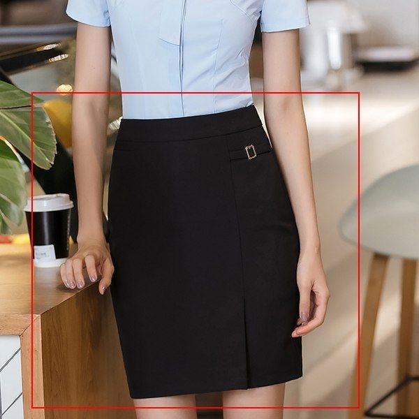 小三衣藏[8S125-PF]低調側邊小金屬釦OL純色包臀窄裙~
