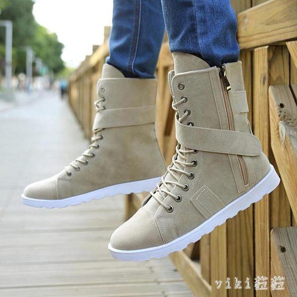 大尺碼高筒靴 秋季棉鞋高幫馬丁靴中筒男靴子軍靴牛仔靴 nm5812【VIKI菈菈】