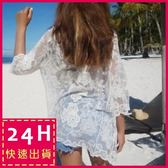 梨卡★現貨 -韓國甜美沙灘外搭防曬外套罩衫-鉤花透視鏤空針織蕾絲短袖泳衣泳裝比基尼外衣C6129