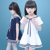 女童夏裝2018新款洋氣裙子海軍風連衣裙純棉童裝兒童中大童公主裙