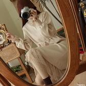 蕾絲洋裝 內搭外穿!復古蕾絲拼接!珍珠系帶寬鬆中長小厚針織連身裙 D 4124 曼慕