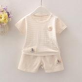 夏季寶寶短袖套裝薄棉小孩嬰兒衣服小童兒童夏裝1男童短褲女童3歲 快速出貨