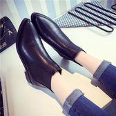 新款韓版鞋子2018秋季粗跟尖頭短靴中跟鞋馬丁靴百搭秋款時尚女鞋 美芭