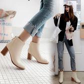 丁果、大尺碼女鞋34-46►歐美明星款後拉鍊尖頭高跟短靴子*3色