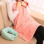 多功能兩用戶外旅行u型枕頭 可折疊午睡毯 辦公室枕頭 飛機護頸枕