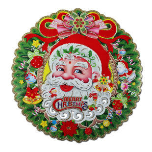 聖誕場景裝飾 圓環金粉立體貼畫  2張