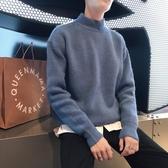 針織外套 半高領毛衣男新款秋冬季正韓潮針織衫加絨加厚套頭外套打底衫【免運直出】