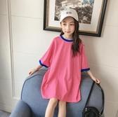 女童上衣 女童短袖t恤2020年夏季新款韓版洋氣中長款寬鬆兒童夏裝 交換禮物
