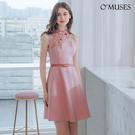 OMUSES 重工刺繡花旗袍粉色短洋裝...