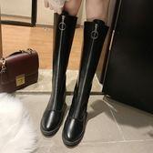 網紅長筒靴子女秋季新款韓版百搭粗跟高跟鞋chic前拉鏈過膝靴 亞斯藍