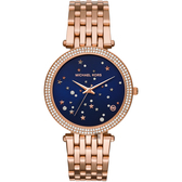 Michael Kors DARCI 星空晶鑽手錶-藍x玫塊金/38mm MK3728
