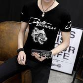 2018新款夏季男士短袖T恤V領青少年學生男土半袖潮流體恤修身半袖 依凡卡時尚