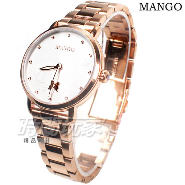 (活動價) MANGO 花漾蝶舞 任意搭配 女錶 防水手錶 不銹鋼 快拆雙錶帶套組 玫瑰金x白色 MA6755L-80R